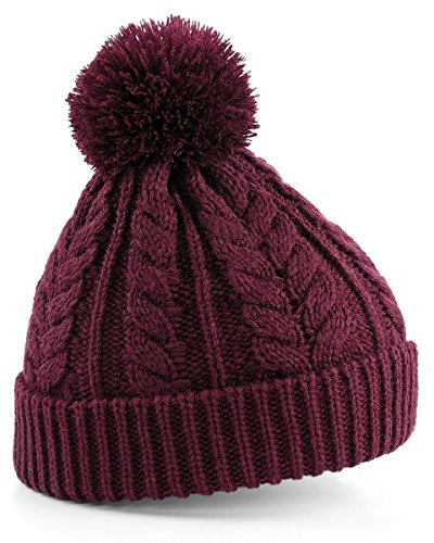 Beechfield Unisex Heavyweight Cable Knit Snowstar Winter Beanie Hat (One Size) (Burgundy Cable Knit)
