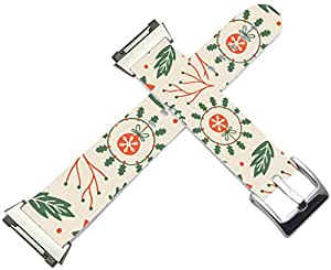 Fitbit Ionic Bands Leather - Fitbit Ionic Strap Silver Connectors Christmas Day Xmas Green Leaves Red Flower Gift