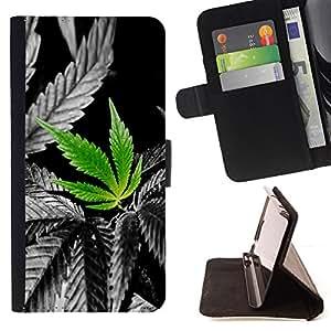 - NATURE LOVE CANNABIS HEMP PLANT WEED - - Prima caja de la PU billetera de cuero con ranuras para tarjetas, efectivo desmontable correa para l Funny HouseFOR Apple Iphone 5 / 5S