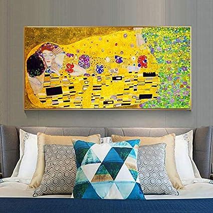 Gustav Klimt cartel del beso impresión en lienzo arte de la pared famoso cuadro en la pared de la pintura for la sala principal Cuadros Decoración Foto stampata ( Size (Inch) : 50x100cm No Frame )