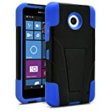 Nokia Lumia 630 Case, Nokia Lumia 635 Case, MagicMobile® Premium Hybrid Shockproof Armor Cover Two Layers of Protection Blue Soft Silicone and Black Hard Plastic Cover with Kickstand [ Compatible with Nokia Lumia 630 / 635 All Carriers]