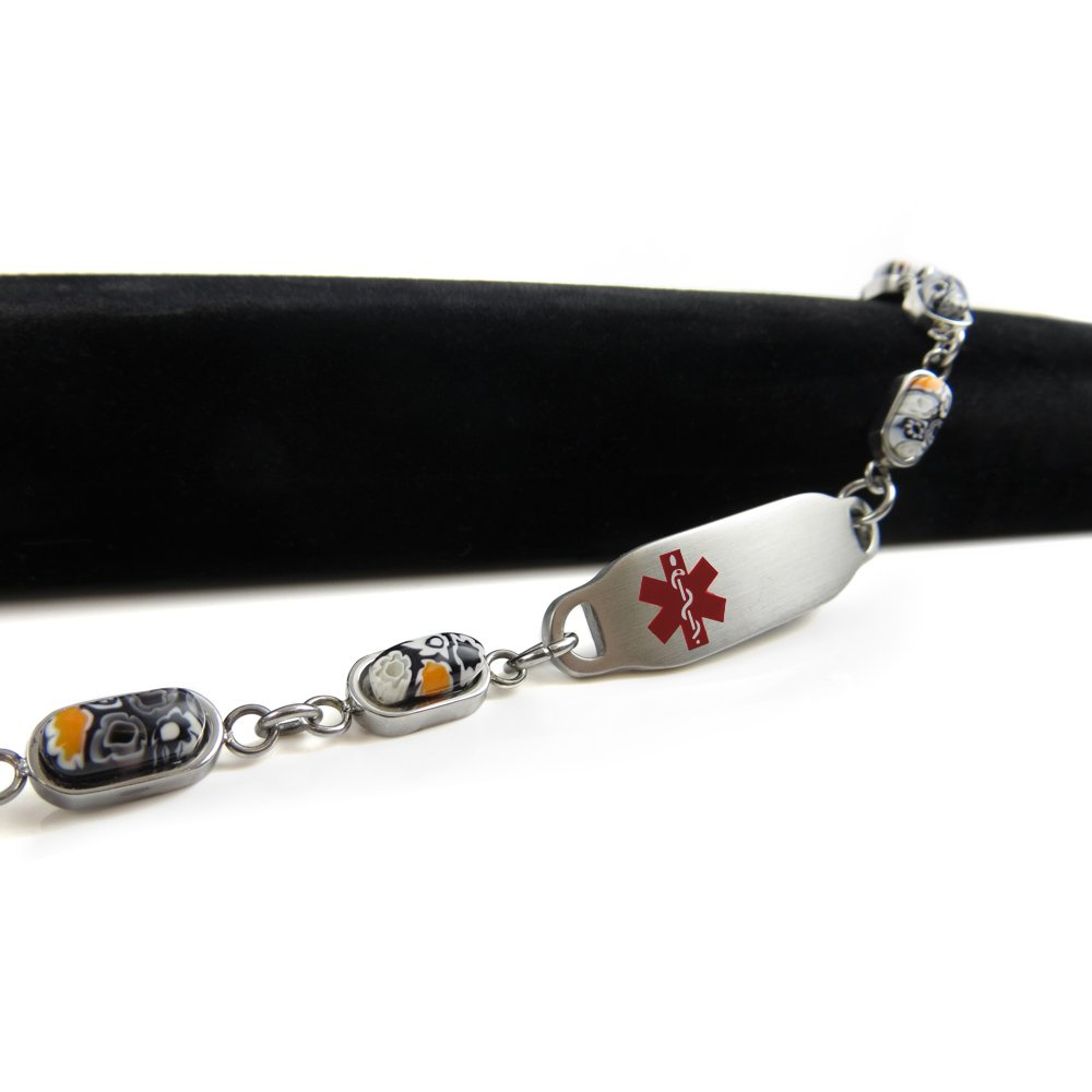 Red Pre-Engraved /& Customized Compazine Allergy Alert Bracelet My Identity Doctor Black /& White Millefiori Glass Pattern