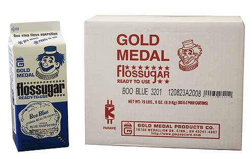 Concession Express-Cotton Candy Blue Raspberry Flossugar, Case of 6-1/2 Gallon Cartons by Gold Medal (Image #2)