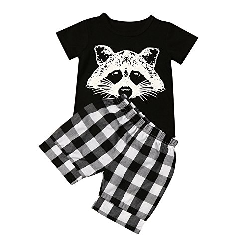 (Toddler Baby Boy Cartoon Pattern T-Shirt Tops and Plaid Shorts Pants Outfits Clothes Set)