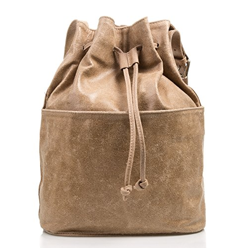 Vera Sac cm Couleur femme Sac ajustable italiana Made à à FONCÉ ARTEGIANI en BLEU naturel FIRENZE cuir cuir 28x36x18 Fermeture main Taupe en in cordon pelle ITALY authentique HqgSxw