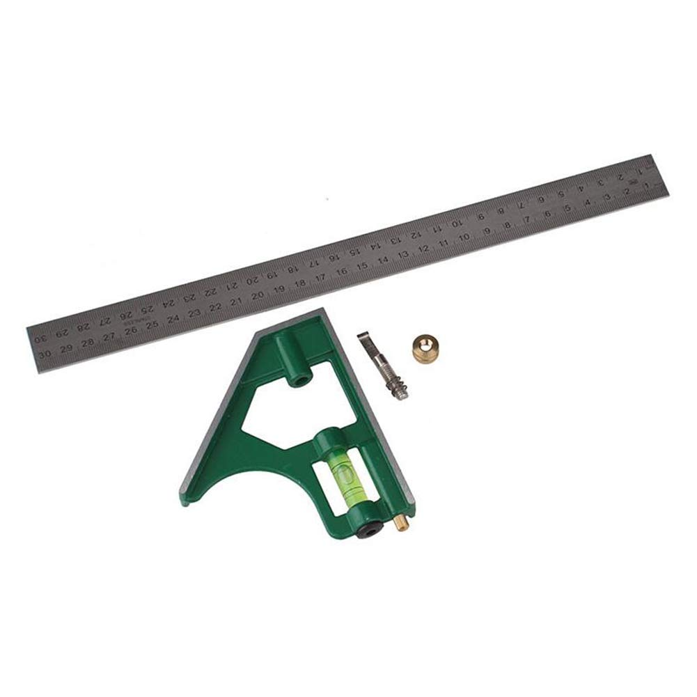 R/ègle en acier inoxydable multi fonction Combinaison r/églable Angle R/ègle portable actif /Équerre /à angle droit R/ègle Outils de mesure avec 300mm de base jaune