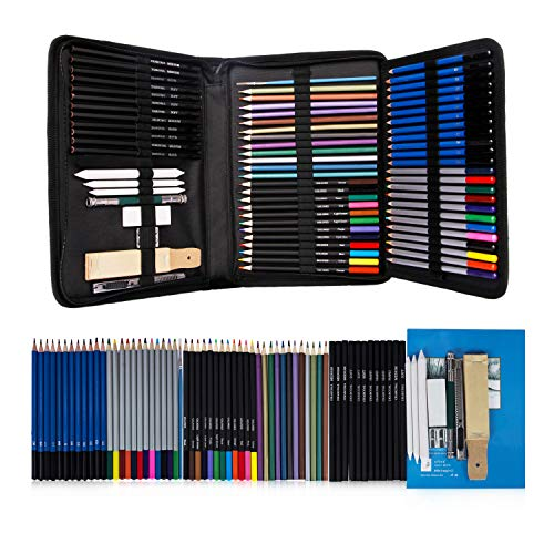 12 Piece Colored Pencils - K Kwokker 71 Pieces Sketching Drawing Art Set Professional Sketch Pencils Marker Kit, 12 Graphite Pencils, 12 Watercolor Pencils, 12 Colored Pencils, 12 Metallic Pencils, 12 Charcoal Pencils, 3 Stumps