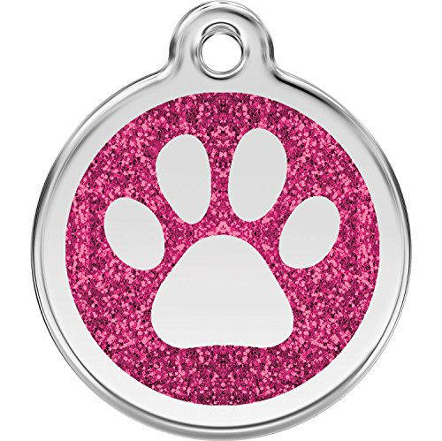 Red Dingo Personalized Glitter Paw Pet ID Dog Tag (Medium Hot Pink)