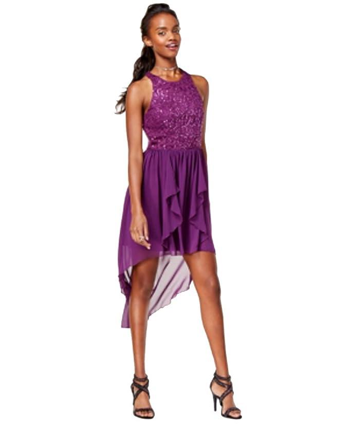 0d652402bd Amazon.com  City Studios Juniors  Sequined Lace High-Low Fit   Flare Dress  (Purple