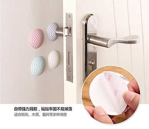 HADTECH 4 PCS Wall Protectors Self Adhesive Door Handle Bumper Guard Stopper Rubber Stop Silencer Baby Care, Home Safety (Light color) by HADTECH (Image #6)