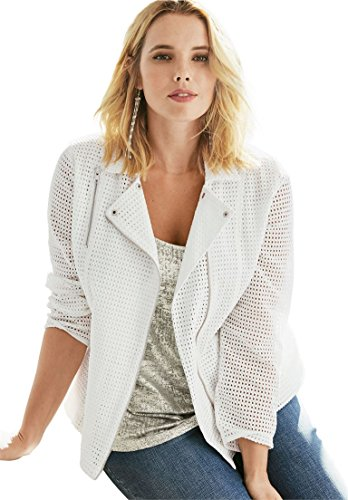 Roamans Women's Plus Size Eyelet Moto Jacket