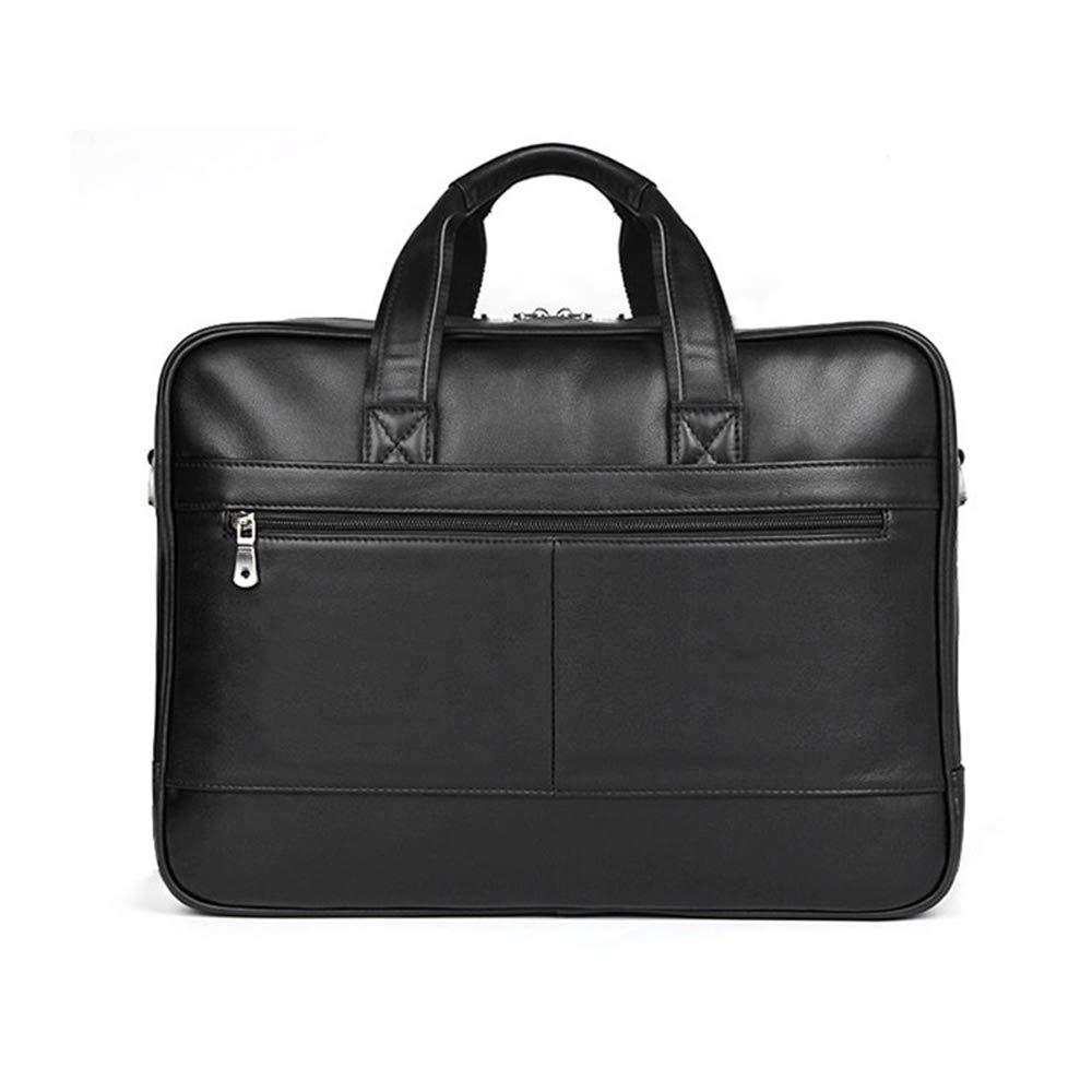 メンズメッセンジャーバッグ レザーブリーフケース 弁護士メッセンジャーショルダー ノートパソコンビジネスバッグ メンズ (ブラック)   B07PKJT4S4