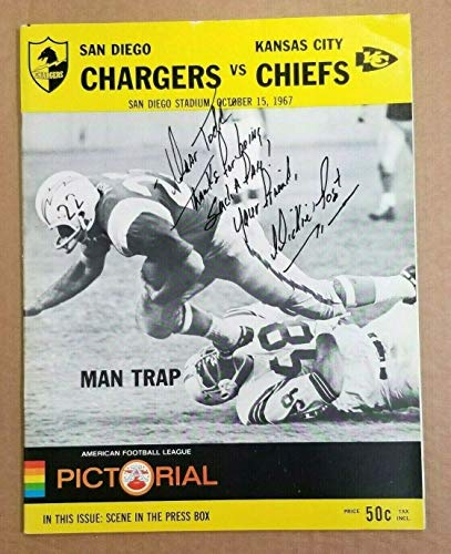 AFL FOOTBALL PROGRAM CHIEFS at CHARGERS - 1967 - AUTOGRAPHED by DICK POST (Best Ebay Listing Program)