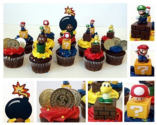 MARIO BROTHERS GAME SCENE 14 Piece Birthday CUPCAKE Topper Set Featuring Mario, Luigi, Goomba, Koopa Troopa, and Mushroom, Themed Decorative Accessories - Figures Average 2.5 Inches Tall by Nintendo