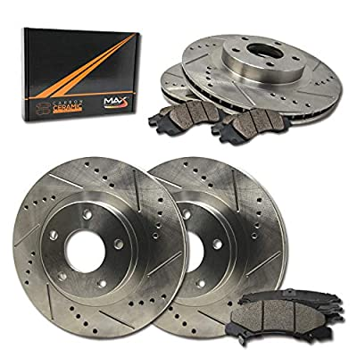 Max Brakes Front & Rear Performance Brake Kit [ Premium Slotted Drilled Rotors + Ceramic Pads ] KT006433 Fits: 2003-2006 Acura MDX