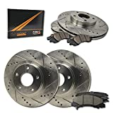 Max Brakes Front & Rear Performance Brake Kit [ Premium Slotted Drilled Rotors + Ceramic Pads ] KT053633 Fits: 2008-2012 Grand Caravan + Town & Country 2009-2011 Journey | VW 2009-2012 Routan