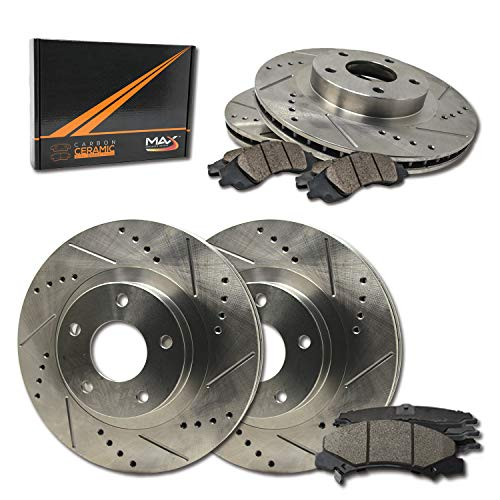 lotted|Drilled Rotors w/Ceramic Brake Pads Front + Rear Performance Brake Kit KT074333 [Fits:1988-1995 Chevy Corvette] ()