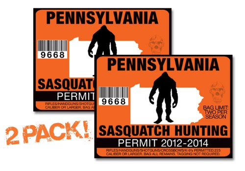 Pennsylvania-SASQUATCH HUNTING PERMIT LICENSE TAG DECAL TRUCK POLARIS RZR JEEP WRANGLER STICKER 2-PACK!-PA