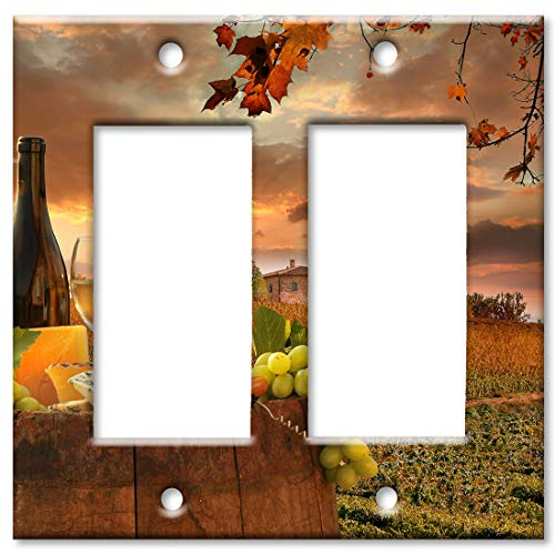 (Art Plates 2 Gang Decora - GFCI Wall Plate - Wine by an Italian Winery)