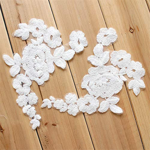 Embroidered Patch - 1 Pair White Flowers Embroidered Patch Sew On Patches Dress Women Costumes Diy 20x15 5cm - Potter Mushroom Dragon Funny Manufacture Tarot Cartoon Christmas Custom Jurassic ()