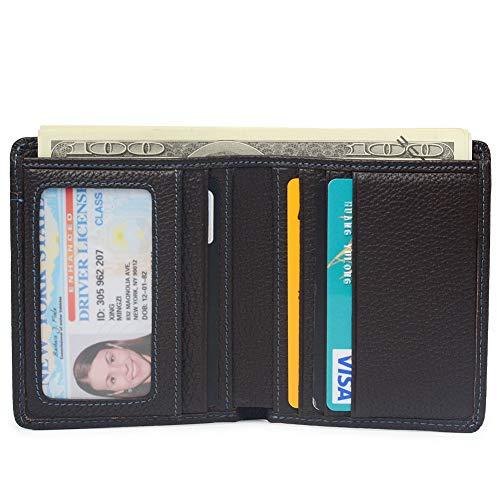 - RFID Blocking Ultra Thin Bifold Genuine Leather Minimalist Front Pocket Slim Wallets for Men (Dark Brown)