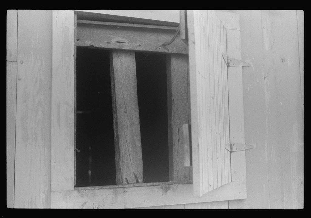 Reproduced Photo of Window for Ventilation at Barracks for migratory Workers at Webster Canning Company, Cheriton, Virginia 1940 Delano C Jack 74a