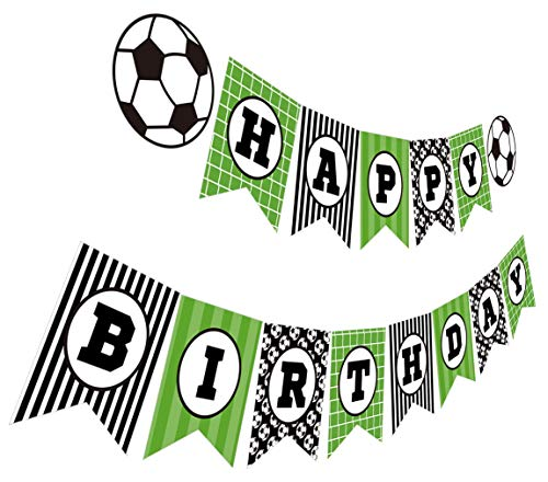 Soccer Party Decorations (Silvima Soccer Birthday Banner, Soccer Theme Happy Bday Bunting Sign, Soccer Party)