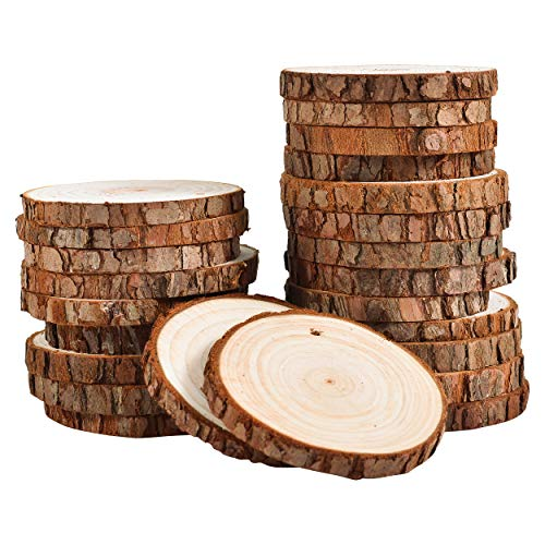 24 Natural Wood Slices for Crafts Set (2.85-3.15in) by Lumberjak - 24 Paint Brushes, 8 Paint Colors, 33Ft Hemp String - Pre-Drilled Wooden Discs for Arts and Crafts, Ornaments, Wood Coasters -