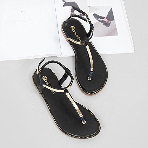 De Zhirong Orteil Plat Des En Noir T Femmes Roman Noir Eu36 Clip Forme Chaussures 5 De Style Paillettes Sandales Le Chaussures Étudiant Uk3 Métalliques Taille Cn35 Plage Chaussures couleur YdTYzq