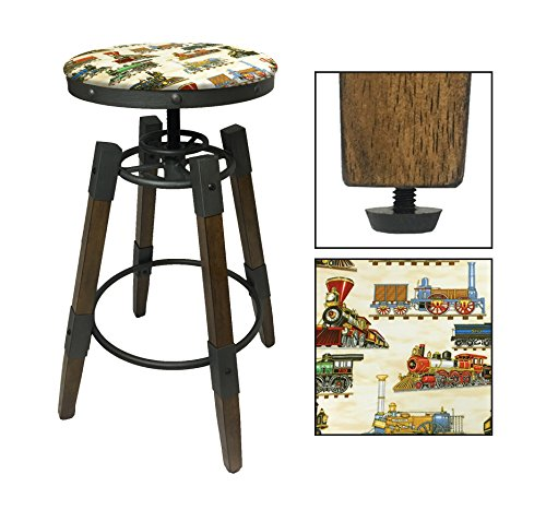 "Stool Train (1 - Adjustable 25""- 30"" Tall Industrial Wood and Metal Swivel Seat Bar Stool Featuring Your Choice of a Novelty Theme Seat Cushion (Trains on Tan))"