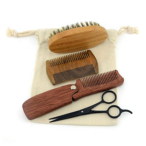 Beard Brush and Comb Set for Men – 4 Pieces,Boar Bristle Beard Brush and Handmade Wooden Comb,Just The Best Care Your Mustache,Adds Shine and Softness