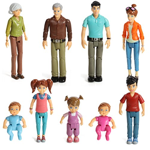 Beverly Hills Doll Collection TM Sweet Li'l Family Set of 9 Action Figure Set- Grandpa, Grandma, Mom, Dad, Sister, Brother, Toddler, Twin Boy & Girl