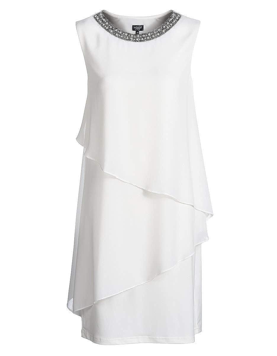Bexleys by Adler Mode Damen Kleid im Lagenlook mit Perlen am Ausschnitt - Fummel, Robe, Abendkleid, Stoffkleid