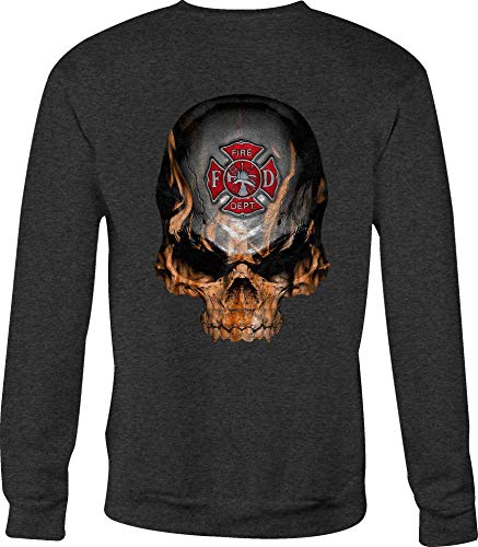 Crewneck Sweatshirt Flaming Skull Fire Fighter Maltese Cross Flames - Med Gray