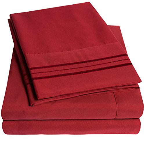 1500 Supreme Collection Bed Sheets Set - PREMIUM PEACH SKIN SOFT LUXURY 4 PIECE BED SHEET SET, SINCE 2012 - Deep Pocket Wrinkle Free Hypoallergenic Bedding - Over 40+ Colors - Full, Red (Red White And Bedding)