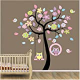 Home Art Decor Colorful Tree Decals with Hanging Owl, DIY Wall Decor, Pink Owl Wall Sticker, Owl Wallpaper for Kids Room, Reusable Stickers