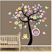 Zhiyu&art decor Home Art Decor Colorful Tree Decals with Hanging Owl, DIY Wall Decor, Pink Owl Wall Sticker, Owl Wallpaper for Kids Room, Reusable Stickers … (78AB)