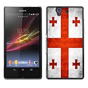Shell-Star ( National Flag Series-Georgia ) Snap On Hard Protective Case For SONY Xperia Z / L36H / C6602 / C6603 / C6606