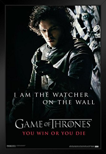 Pyramid America Game of Thrones I Am The Watcher On The Wall You Win Or You Die HBO TV Series Framed Poster 14x20 inch