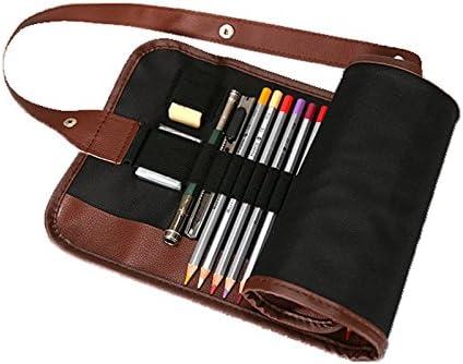 BADALink Estuche Portalápices de Tela Lona Estuche Escolar con PU Pencil Wrap Envuelta Estilo para Guardar lápices Plumas para Estudiantes Artistas: Amazon.es: Oficina y papelería
