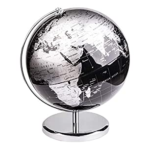 Exerz 25cm Globo Terráqueo – en Inglés – Decoración de escritorio educativa/geográfica/moderna – Con una base de metal – Negro Metálico – Diámetro: 25cm