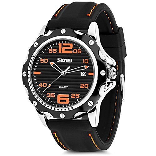 - Mens Quartz Watch, Analog Watches Fashion Sports Dress Waterproof Business Casual Wrist Watch with Silicone Rubber Band 30M 3ATM Water Resistant