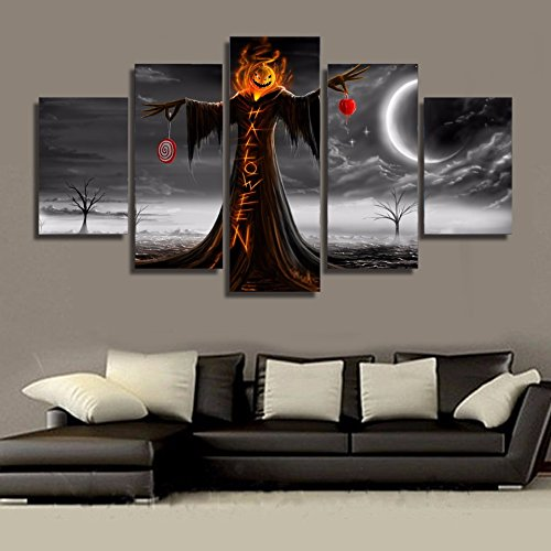 [LARGE] Premium Quality Canvas Printed Wall Art Poster 5 Pieces / 5 Pannel Wall Decor Halloween Painting, Home Decor Pictures - With Wooden Frame - Home Decor Halloween