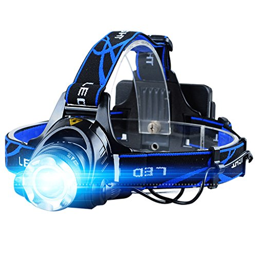 LIYUDL Brightest Zoomable Headlamp,XM-L Q5 5500 Lumen flashlight - 3 Modes Rechargeable Headlight Flashlights,Hard Hat Light, Bright Head Lights, Running or Camping headlamp by LIYUDL