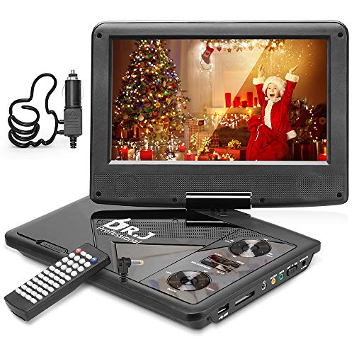 DR. J Professional 11.5' Portable DVD Player with 5 Hours Built-in Rechargeable Battery, USB Port, SD Card Slot, 9.5 Inch Internal Swivle Screen, Region-free, 1.8m Car Adapter and Battery Adapter