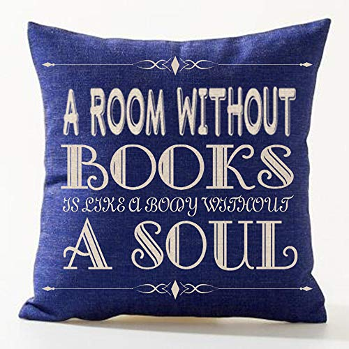 SOPARLLY Words A Room Without Books is Like A Body Without A Soul Pattern Blue Bottom Cotton Linen Decorative Throw Pillow Case Cushion Cover Square 18