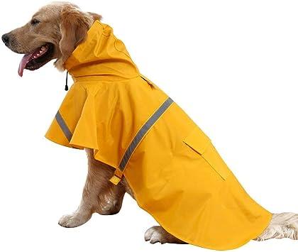 Tineer Regolabile Impermeabile Cane con Cappuccio Impermeabile Cane Riflettente Cappotto Pioggia Giacca Cane Vestiti Antipioggia per Cani Piccoli di Taglia Media S//M, Giallo
