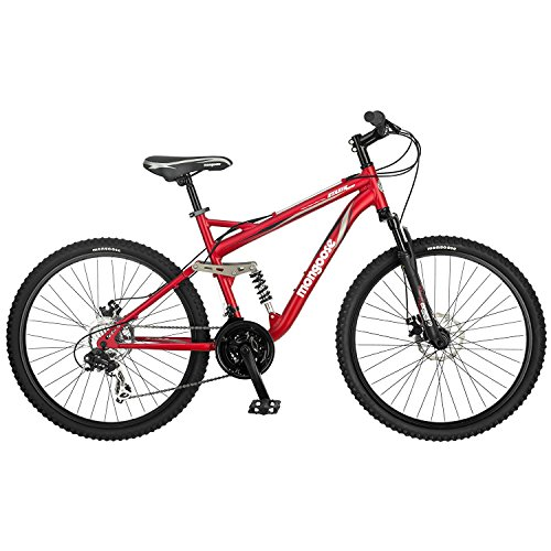 Mongoose Stasis Comp 26-Inch Full Suspension Mountain Bicycle, Matte Red, 18-Inch ()