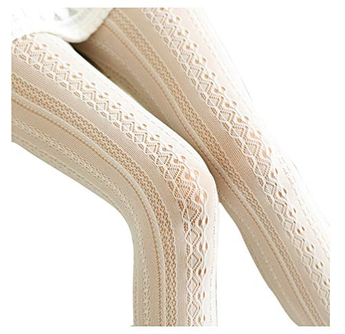 - EachEver Women Fishnet Hollow Out Chiffon Lace Stockings Tights Vertical Strips Pantyhose Ivory