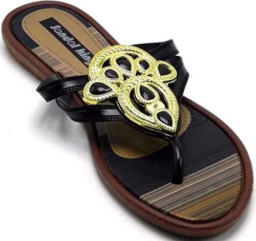 Tanga De Bhoemia De Verano Para Mujer Sweet Flower Beads Toe Post Flip Flop Zapatos Sandalias Planas Negras